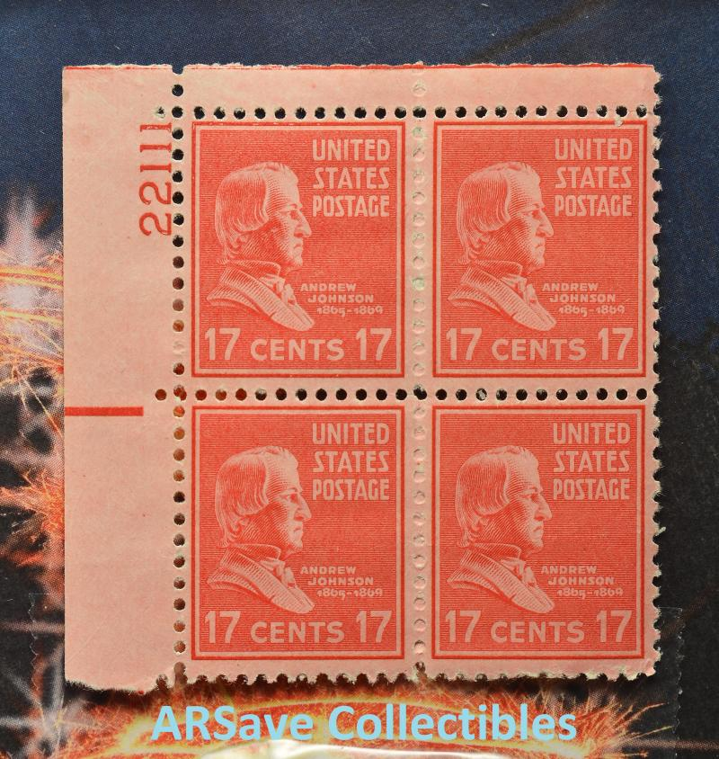 Andrew Johnson Block of 4 17 cent stamps 22111
