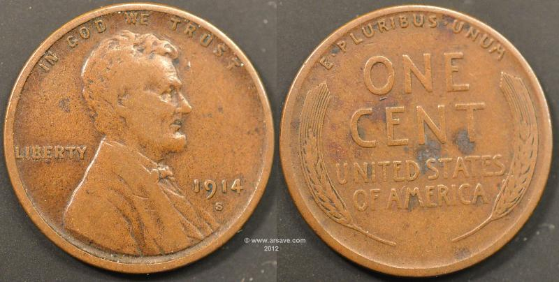 1914-S Linclon Cent in Cirulated Condition