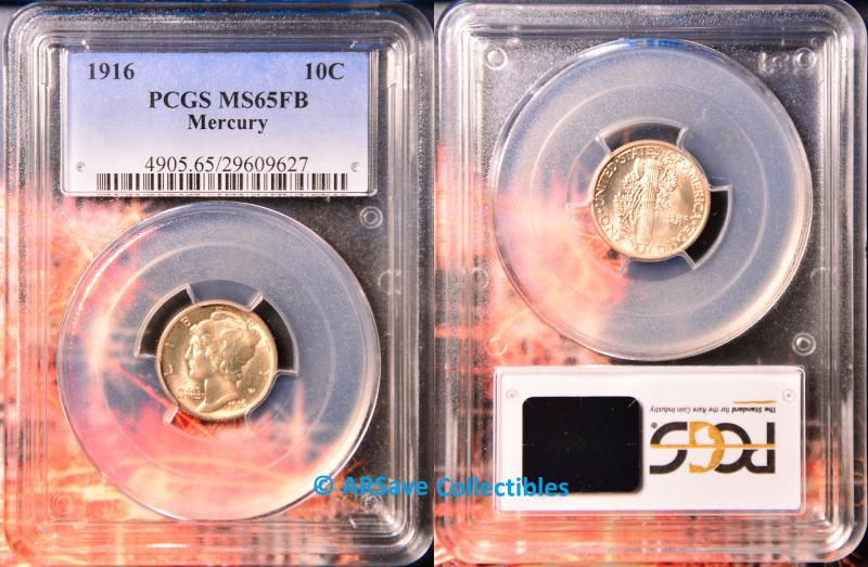 1916 Mercury Dime MS65FB PCGS Graded ARSave Collectibles