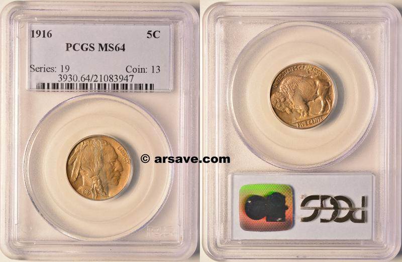 1916 Buffalo Nickel PCGS MS64 ARSAVE.com