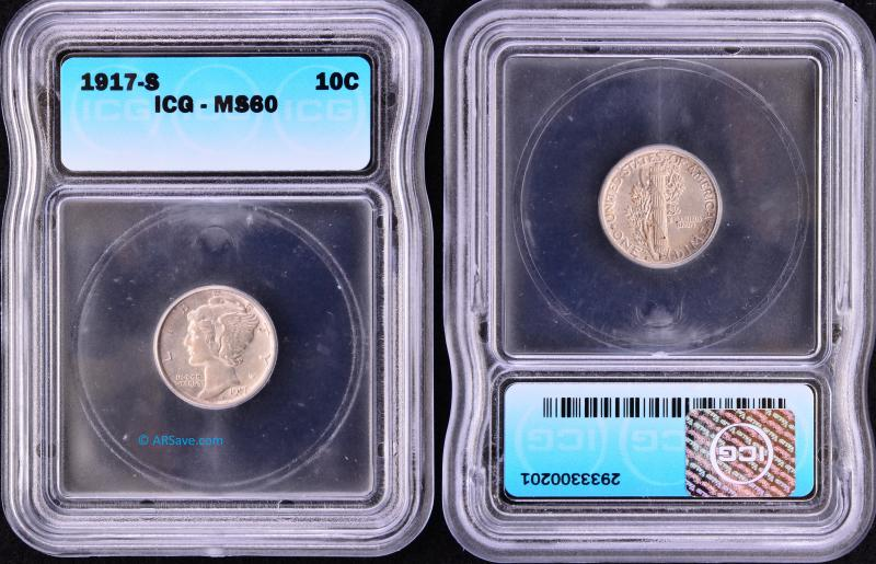 1917-S ICG Graded MS60 Uncirculated Mercury Dime