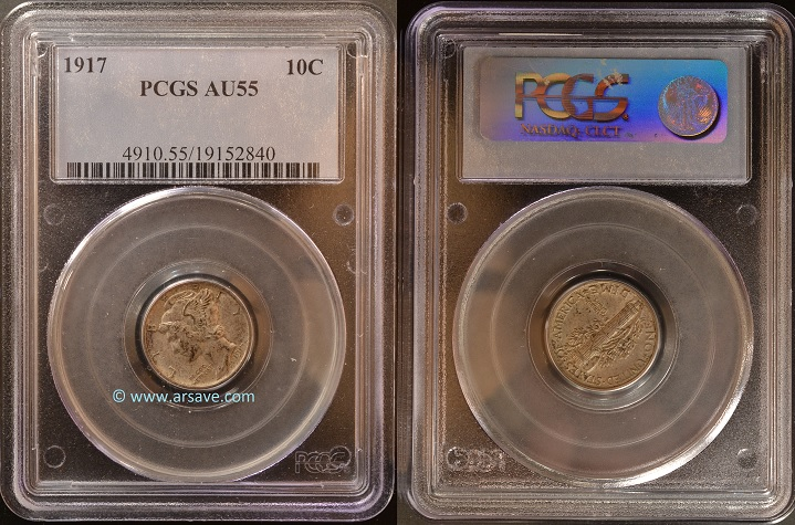 1917 Winged Liberty Dime PCGS AU55