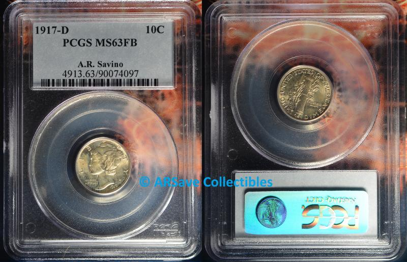 1917-D PCGS Graded MS63FB Mercury Dime ARSave Collectibles