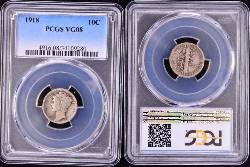 1918 Mercury Dime Graded VG08 by PCGS