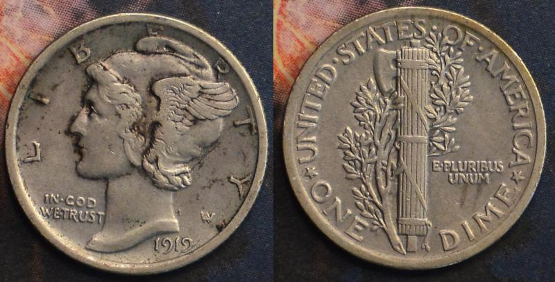1919 Exrta Fine Mercury Dime ARSave Collectibles