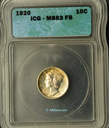 1920 winged liberty dime ICG
