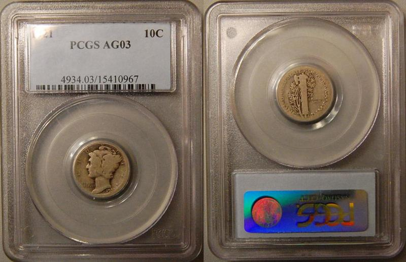 pcgs graded 1921 mercury dime key date
