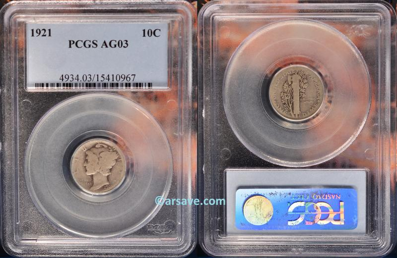 PCGS Graded 1921 Mercury Dime AG03