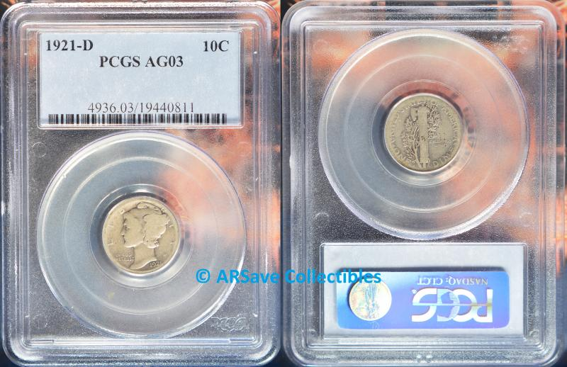 1921-D Mercury Dime Graded AG03 by PCGS