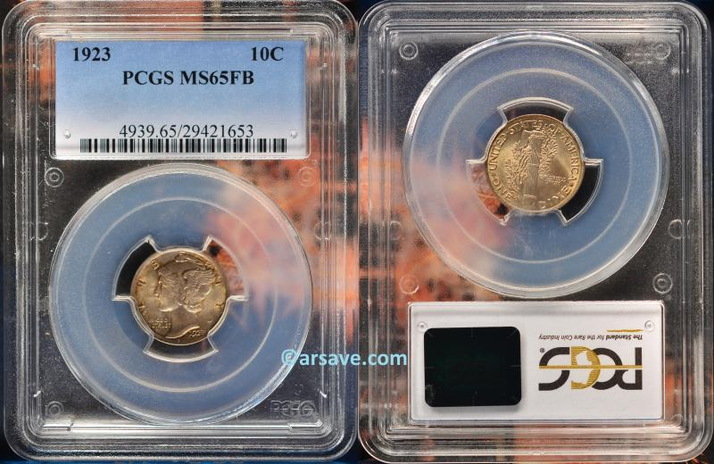 1923 Mercury Dime PCGS Graded MS65FB ARSave Collectibles