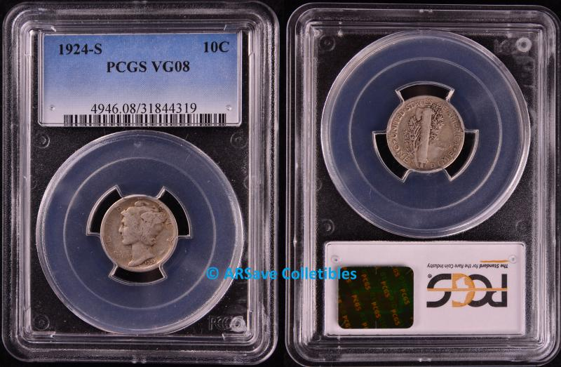 1924-S Mercury Dime PCGS Graded VG08