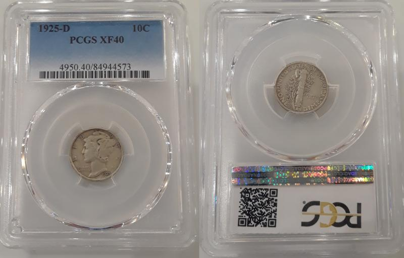 1925-D PCGS Graded XF40 Mercury Dime