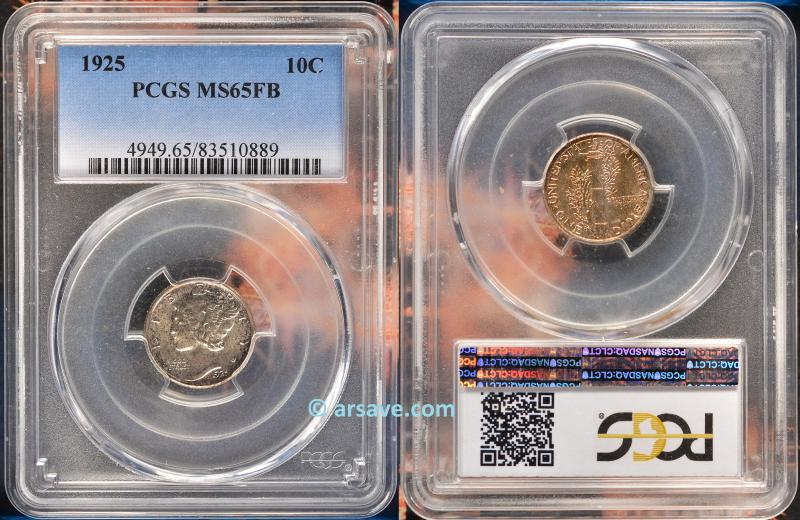 PCGS Graded MS65FB Mercury Dime