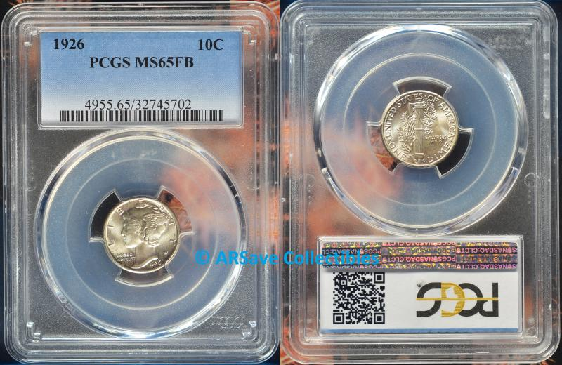 1926 Mercury Dime Graded MS65FB by PCGS  ARSave Collectibles