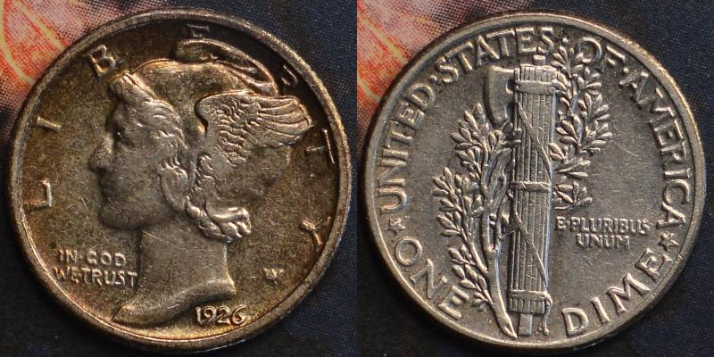 A very nice 1926 Mercury Dime in the XF-AU grade range.