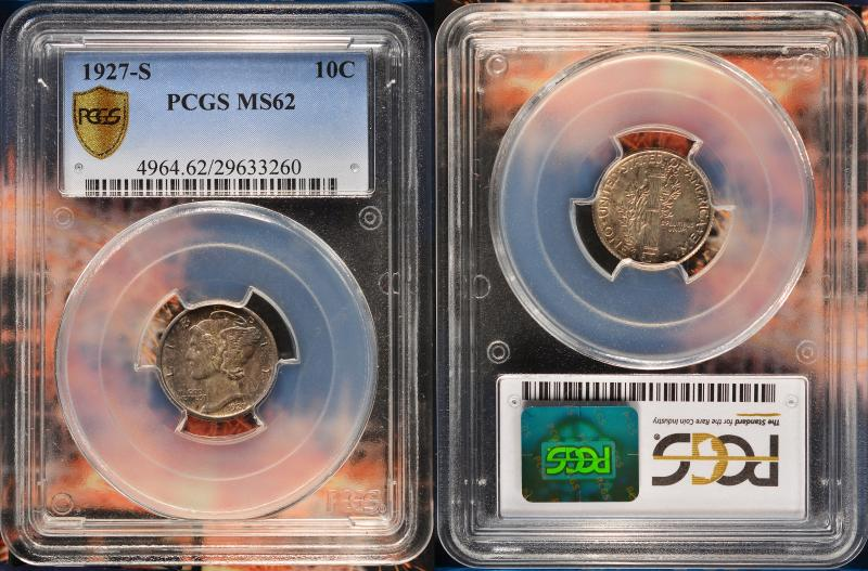 PCGS Graded MS62, darker coin.