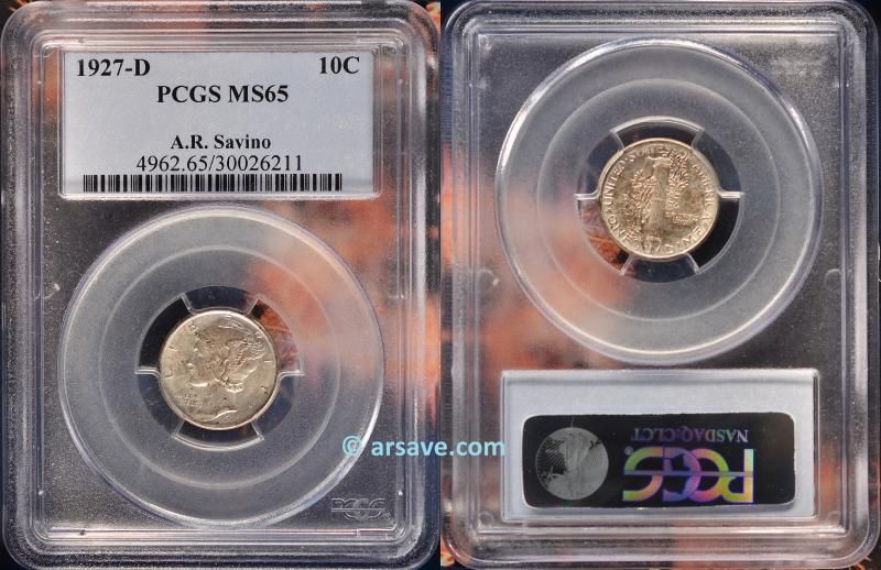 1927-D Mercury Dime Graded MS65 PCGS.  ARSave Collectibles