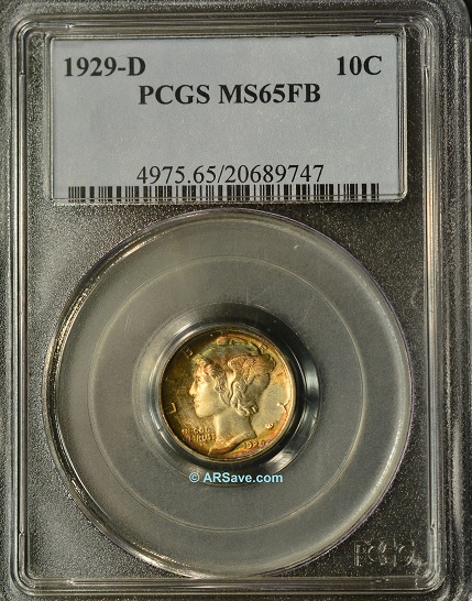 1929-D PCGS Graded MS65FB Winged Liberty Dime (Mercury Dime)