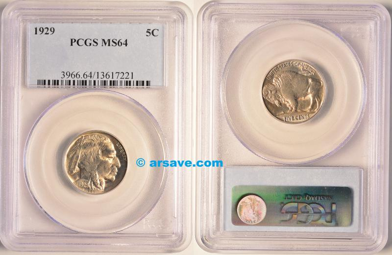 1929 Buffalo Nickel PCGS MS64 Flashy White
