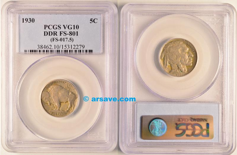1930 DDR Buffalo Nickel Graded and Attributed by PCGS VG10