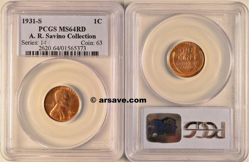 1931-S Lincoln Cent MS64RD Semi Key Date graded by PCGS.