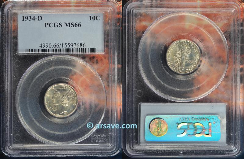 1934-D Mercury Dime PCGS Graded MS66