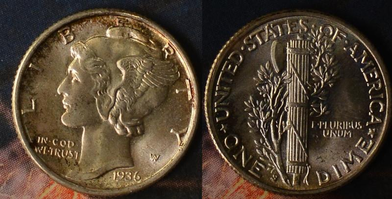 1936-S Mercury Dime Gem Full Bands