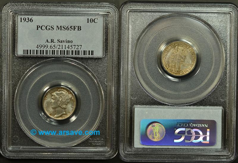 1936 PCGS Graded Mercury Dime with Savino Pedigree