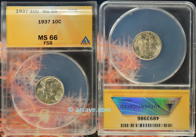 1937 Mercury Dime MS66FB ANACS