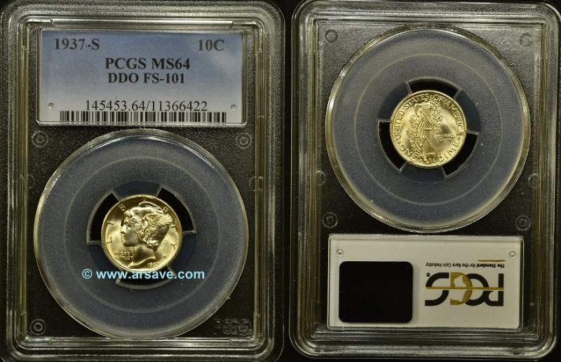 1937-S Double Die Obverse Mercury Dime PCGS Attributed and Graded MS64