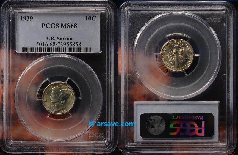1939 Mercury Dime PCGS Graded MS68 Savino Pedigree.  Winged Liberty Dime.