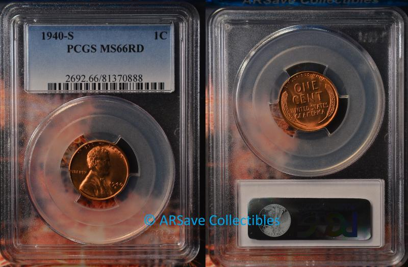 1940-S Lincoln Cent PCGS Graded MS66RD