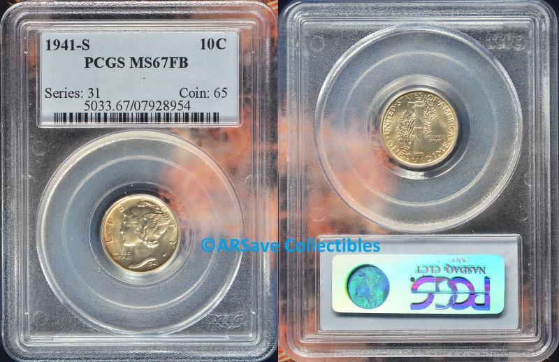 1941-S Mercury Dime with light golden natural toning