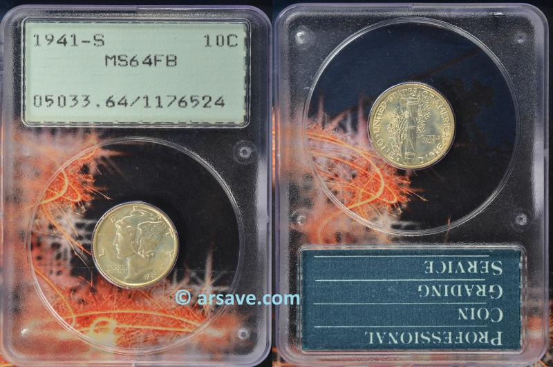 1941-S Mercury Dime PCGS Graded MS64FB OGH