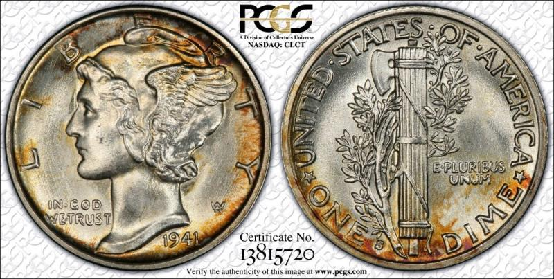 1941-S Colorfun Mercury Dime