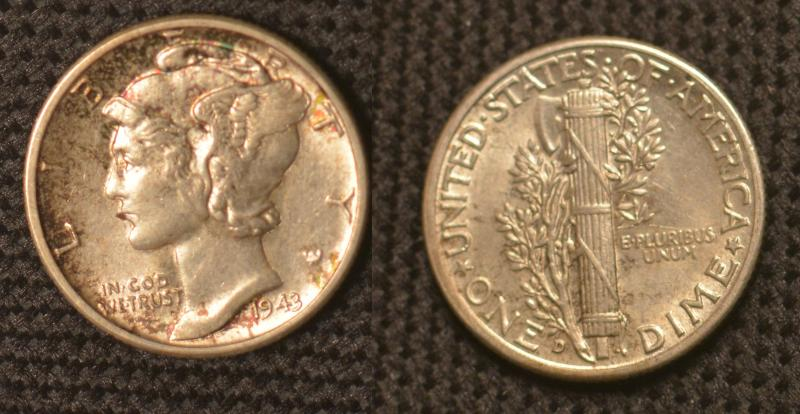 1943-D Mercury Dime with nice toning.  Mostly Obverser Toning on this one.