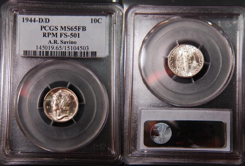 1944-D/D PCGS Graded MS65FB Mercury Dime. A.R. Savino Pedigree.
