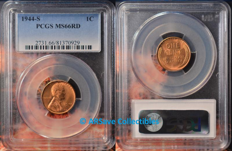 1944-S Lincoln Cent MS66RD PCGS
