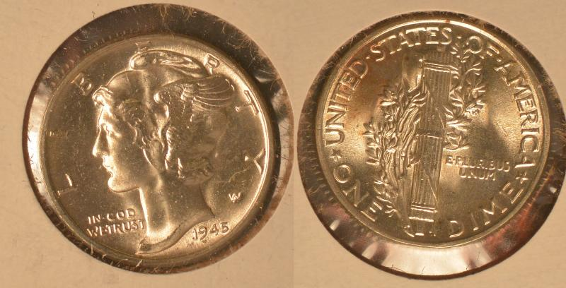 1945 Mercury Dime BU White Obverse, and a Hint of Tone on Reverse