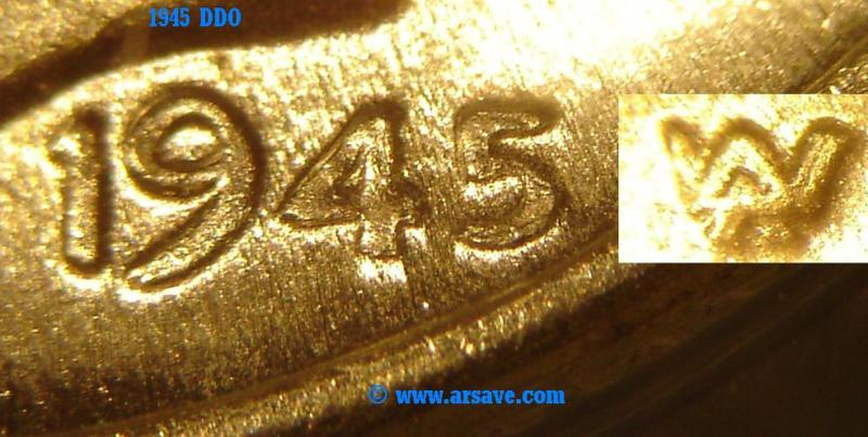 1945 Double Die Obverse shows on Date & Designer's initials. (DDO)