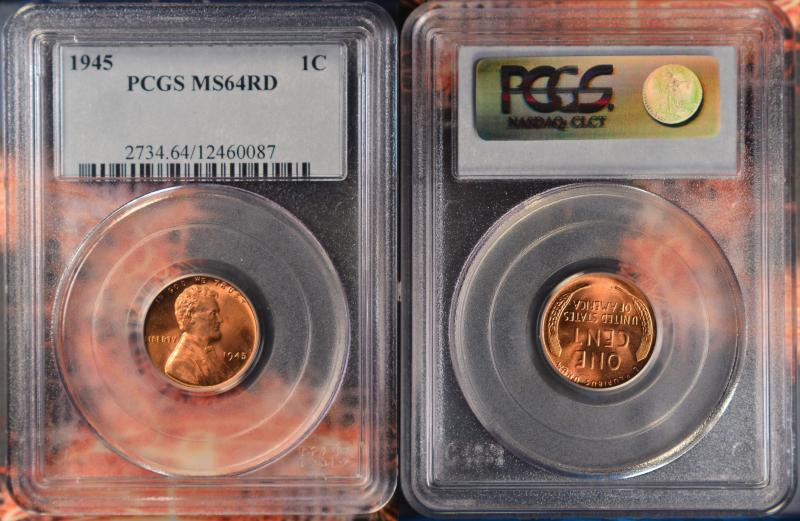 1945 Red BU Lincoln Cent PCGS MS64RD
