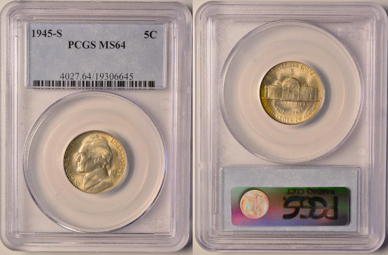 1945-S Silver Jefferson Nickel PCGS MS64