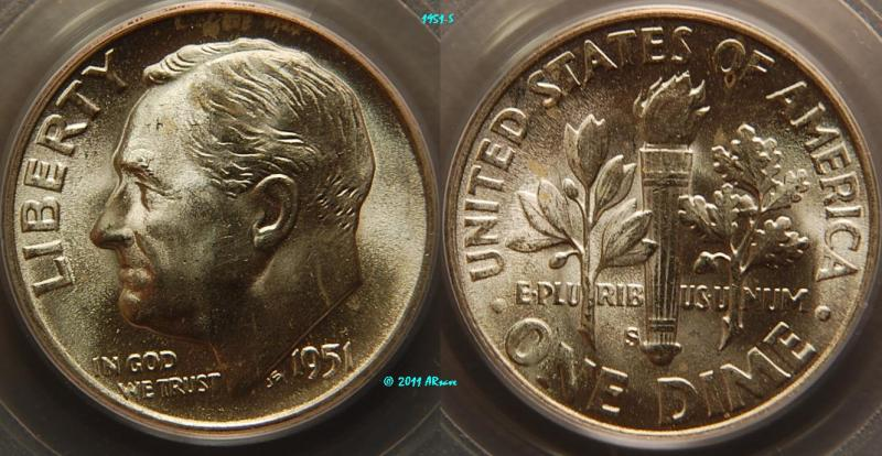 1951-S Roosevelt Dime PCGS graded MS66FB www.arsave.com