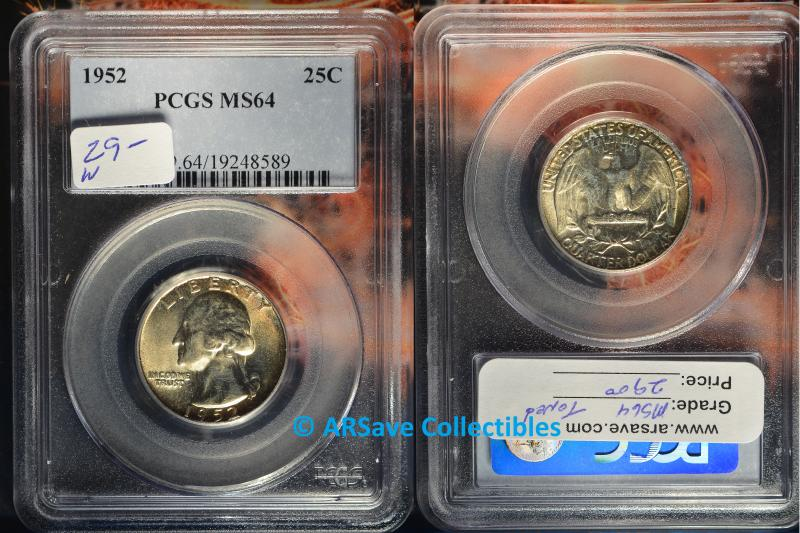 1952 Washington Quarter Toned PCGS Graded MS64 ARSave Collectibles