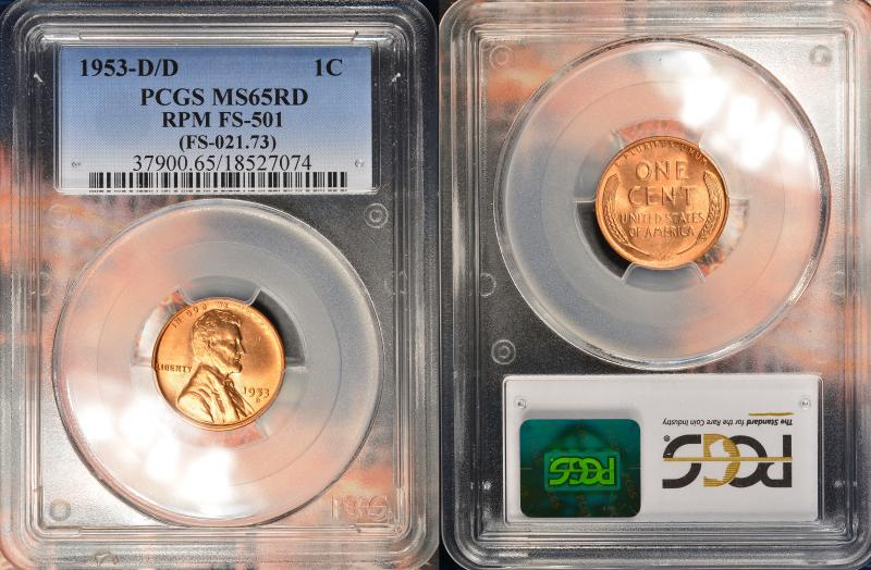 1953 D over D FS-501 RPM Lincoln Cent -- Top 100