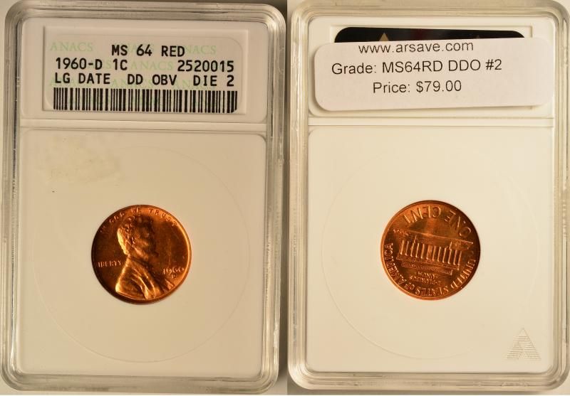 1960 D Doubled Die Obverse Die 2 ANACS MS 64 Red