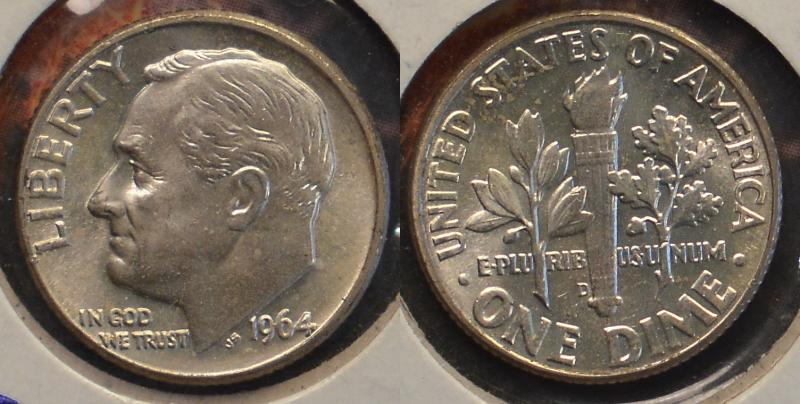 1964-D Silver Uncirulated Roosevelt Dime ARSave Collectibles