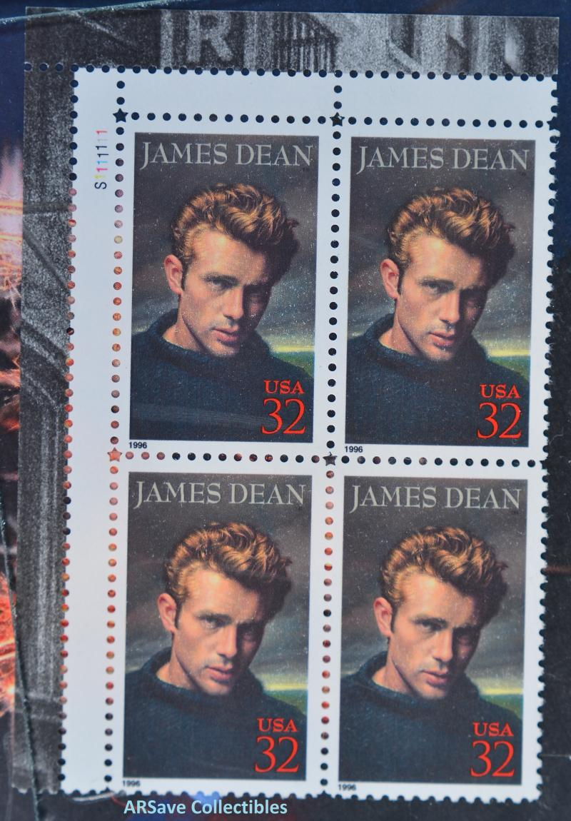 James Dean Block of 4 US Postage Stamps