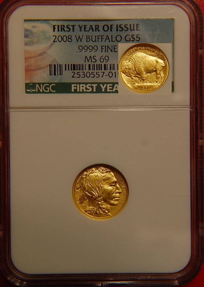 NGC Graded MS69 2008-W Gold Buffalo Fractional
