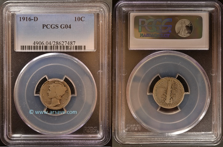 1916-D Key Date Winged Liberty Dime PCGS G04